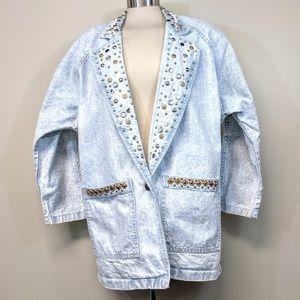 Amazing Vintage 80's Bedazzled Jean Jacket